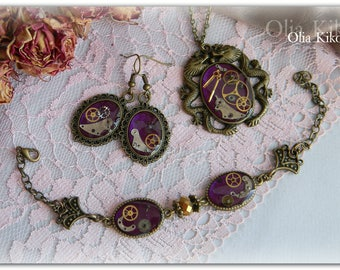 Jewelry set steampunk style handmade set dragon bronze watch mechanisms pendant gift curious Mother's Day birthday set woman's purple
