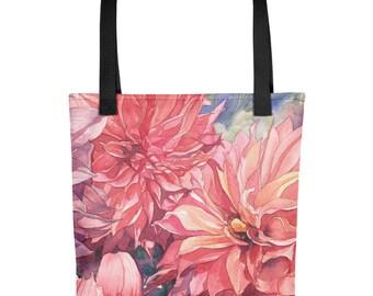 Dahlia Watercolor Print - Tote bag