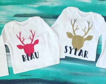 Deer bodysuit, Reindeer bodysuit,  Deer shirt, Reindeer shirt, Baby Christmas outfit, dear season