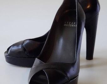 Stuart Weitzman Platform Shoes Black Leather High Heel