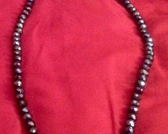Necklace beads dark blue Austrian crostal