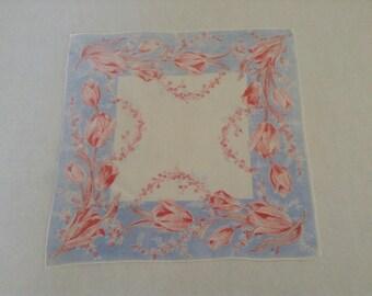Vintage Handkerchief / Pink Tulips