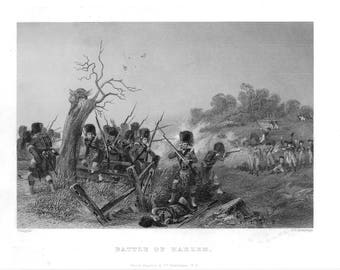Battle of Harlem Antique Engraving c.1870