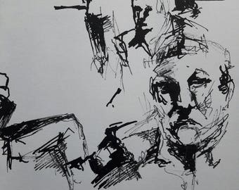 Ink Sketch, ink drawing, portrait Hugo Claus, 1989 nr 2