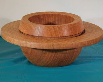 Hand Turned Red Oak Saturn Bowl