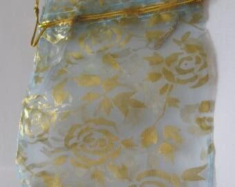 Pocket 12 x 10 cm golden flowers and sky blue gift bag