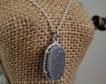 Two tiered layered silver necklace with natural grey stone