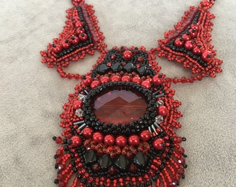 Bead embroidery necklace. Black red necklace with earrings.  Statement piece. Bead Embroidery OOAK