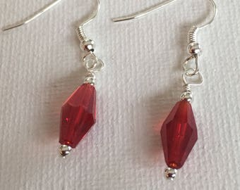 Red earrings. Red dangle earrings.  Red drop earrings.  Red boho earrings.