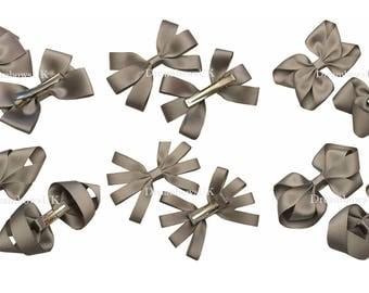 Grey grosgrain ribbon hair bows on alligator clips, girls school grey hair accessories, hair clips, hair slides, silver hair bows, accessory
