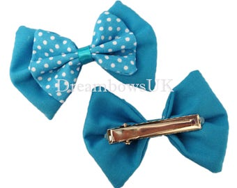Turquoise and white polka dot fabric hair bows on alligator clips, crocodile hair clips, girls turquoise hair accessories, polka dot fabric