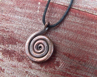Hand Forged Copper Spiral Necklace