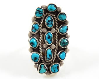 Sterling Turquoise Cluster Ring Native American - X4194