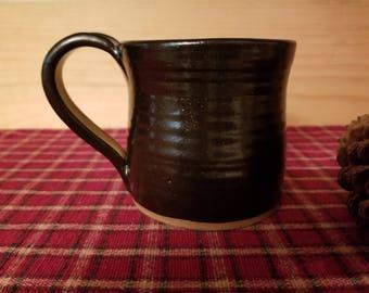 Black pottery mug, pottery mug, black mug, mug, coffee mug, coffee cup, black pottery