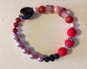 Purple black glass pearls Bead Bracelet