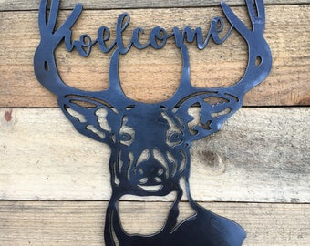 Deer Welcome Sign Buck Welcome Metal Sign