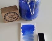 Handmade watercolor Ultramarine blue