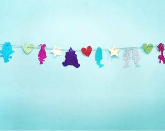 Rainbow Trolls Glitter Banner