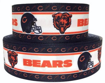 """GROSGRAIN RIBBON 7/8"""" Bears Sports Team B7 Football  Printed  By the Yard( Buy Another One, Add to Cart,  Save on Combine Shipping )"""