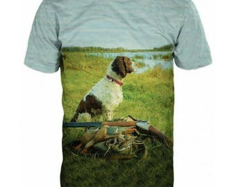 New ultramodern 3D  High Quality  Print Hunting Dog Real Nature short Sleeve t-shirt