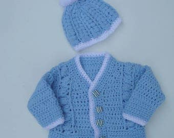 Baby Boy's Cardigan & Hat Set.Sweater And Hat Hand Crocheted. Preemie -1 Year, Made To Order, Sirdar Snuggly Yarn.