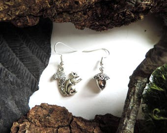These silver squirrel and Acorn earrings.