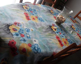 A very pretty floral summer tablecloth