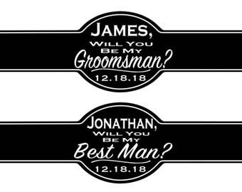 Set of Personalized Wedding Cigar Labels Will You Be My? Bridal Party Wedding Favors Gift Cigar band Best Man Groomsman Usher Officiant
