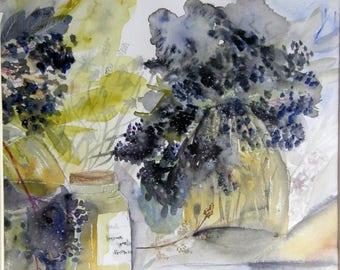 "Original Art, contemporary painting, contemporary painting, original watercolor painting ""elderberry"" Cyane"