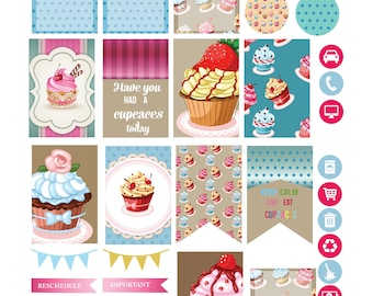 VINTAGE CUPCAKES Weekly Planner Sticker Kit/Printable's Happy Planner Classic Instant Download /