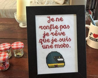 """Frame """"I don't snore I dream that I'm a motorcycle"""" cross stitch"""