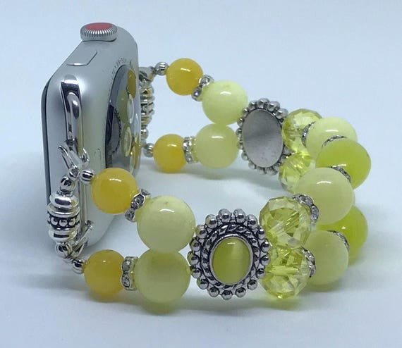 Apple Watch Band*, Women Bead Bracelet Watch Band, iWatch Strap, Apple Watch 38mm, Apple Watch 42mm, Yellow Cat's Eye Swarovski Spacer 6 3/4