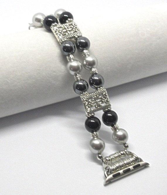 Black & Silver Pearl Size 6 1/2 - 6 3/4 Apple Watch Band, Women Bead Bracelet Watch Band, iWatch Strap, Apple Watch 38mm, 42mm
