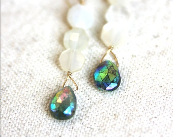 Crysocolla Moonstone Earrings