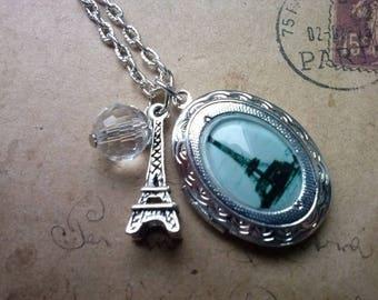 Locket necklace ~ Eiffel Tower ~ ~ silver ~