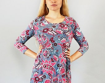 Style By Chris Tunic Top Grey/Fuchsia with Shark-Bite Hem