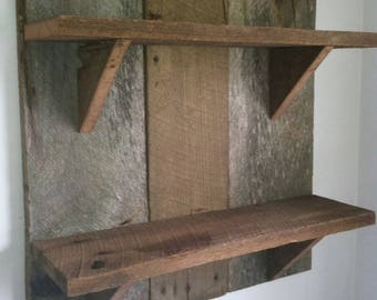 Barn wood three tier shelf