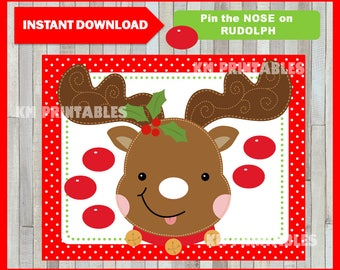 Pin the Nose on Rudolph, Christmas Printable Game, School and Family Party Game, Instant Download