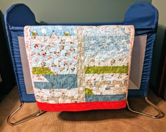 Baby quilt, Flannel baby quilt, Snowflakes, Winter quilt, Baby shower gift, Penguins and snowmen