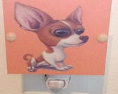"""Chihuahua Night Light Brown and Orange and White 4"""" Square Hand Made with LED Bulb Perfect for Nursery or Kids Room and Free Shipping"""