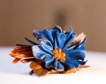 Blue flowers, Genuine leather flowers Hair barrette, Accessories made by Oxana.