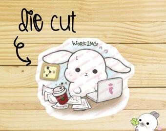 Sugar Bun the bunny Working /  So busy /  Traveler's Notebook Die Cut / Planner Die Cuts
