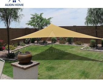 Custom Sized Triangle Waterproof Woven Sun Shade Sail in Vibrant Colors - Desert Sand