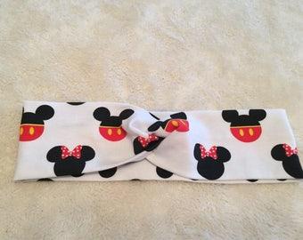 Disney Mickey Mouse and Minnie Mouse headband, turban headband , run disney, crossfit, running gear, yoga headband, sweatband
