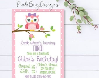 Owl Birthday Invitation, Girl Owl Invitation, Owl Birthday Party, Girl Owl Party, Girl Birthday Invite, Owl Party Invite, Girl Owl Party
