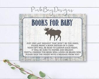 Woodland Books For Baby Insert, Printable Books For Baby Insert, Woodland Book Request, Rustic Baby Shower Insert, Moose Baby Shower