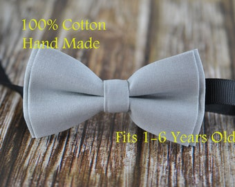 Boy Kids Baby 100% Cotton SILVER GREY Bow Tie Bowtie Party Wedding 1-6 Years Old