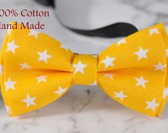 MEN Women 100% Cotton Yellow White Stars Craft Bow Tie Bowtie Wedding Party