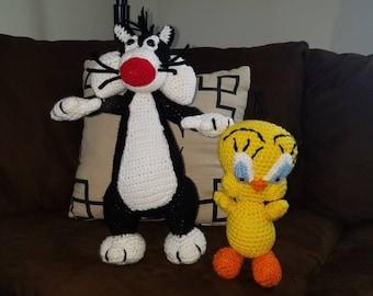 Sylvester and Tweedy crochet stuffed cartoon characters.