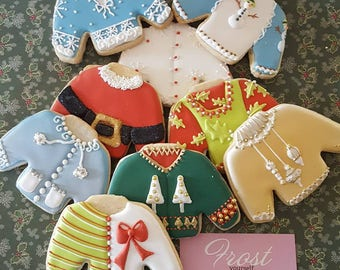 Christmas Cookies Ugly Christmas Sweaters Decorated Iced ~1 Dozen~Frost Yourself Cookies
